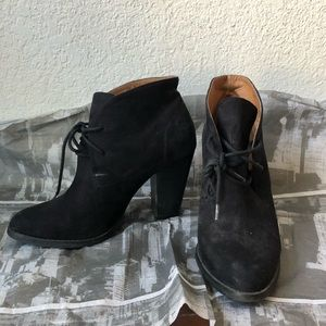 Black heeled suede booties